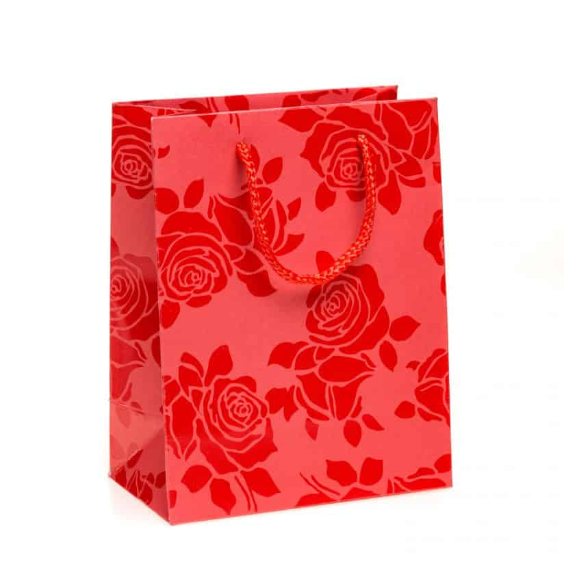 Shopper carta Medio Linea Rosa Smalto rosso