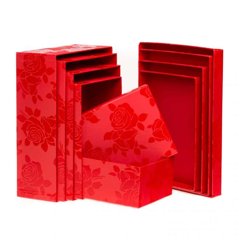 Set Scatole Rettangolari Linea Rosa Smalto rosso