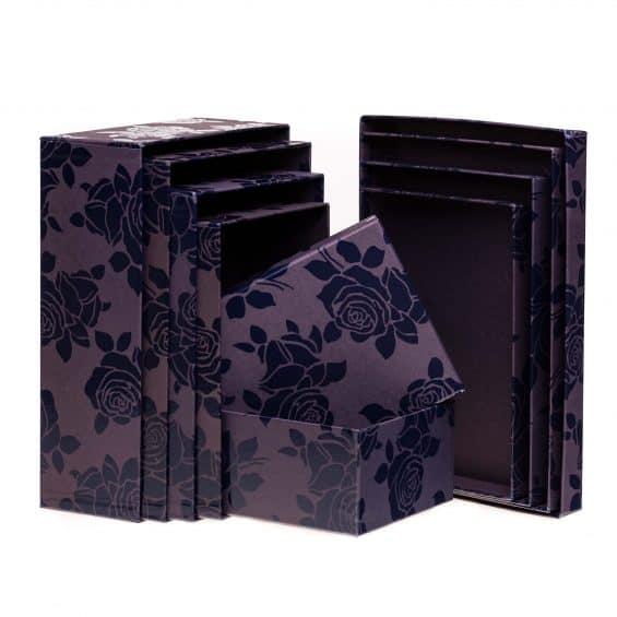 Set-Scatole-Rettangolari-piccole-viola-nero-Linea-Rosa-Smalto-loris-of-florence